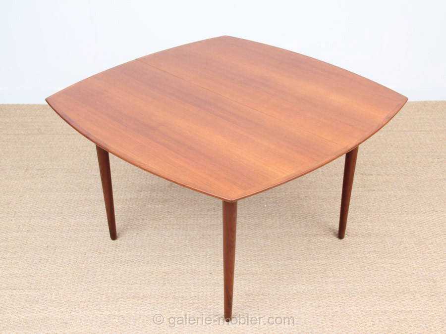 Table scandinave carre e en teck 4 12 pers galerie m bler for Table carree rallonge design