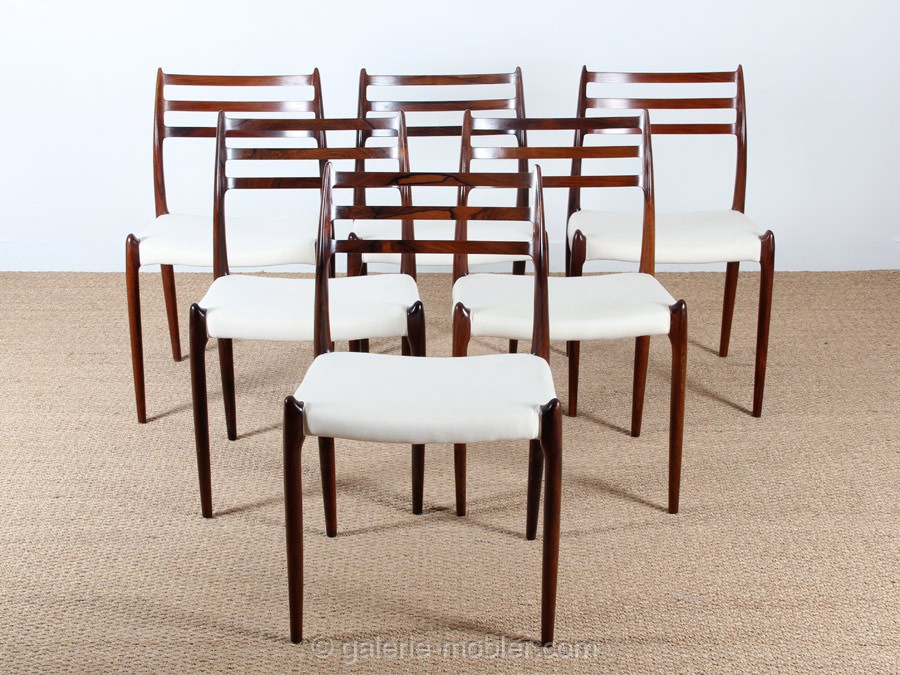 Set of 6 scandinavian chairs in rosewood model 78 galerie m bler - Chaises design scandinave ...