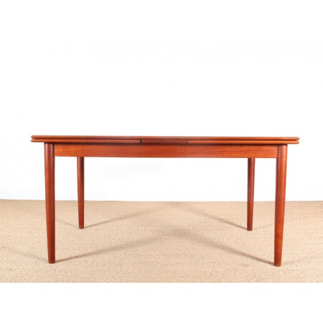 Danish mid modern dining table in teak with extensibles - Table scandinave rallonge ...