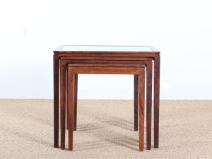 Danish mid-century modern nesting tables in Rio rosewood