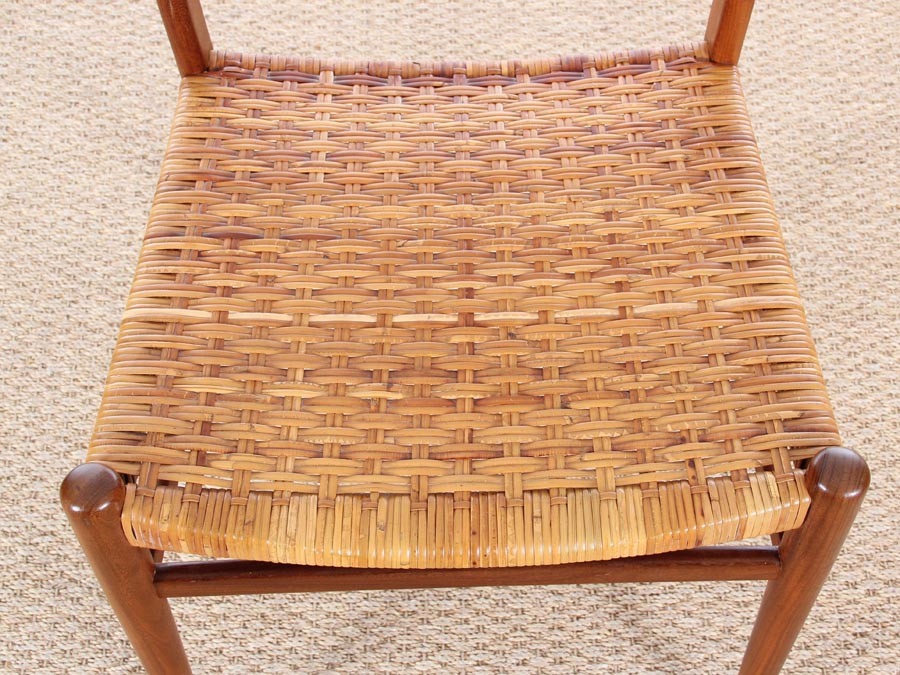 Danish mid century set of 4 dining chairs in teak and cane for Cannage chaise paris