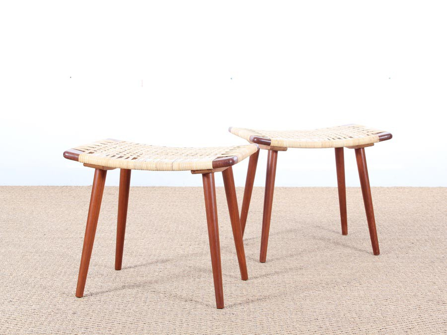 Superb Mid Modern Danish Pair Of Stool In Teak And Cane Galerie Andrewgaddart Wooden Chair Designs For Living Room Andrewgaddartcom