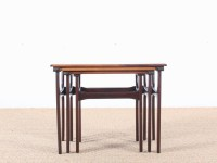 Mid-Century Modern nesting tables in Rio rosewood