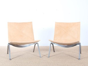 Mid-Century Modern scandinavian pair of PK 22 by Poul Kjaerholm for Kold Christiansen
