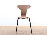 Set of 4 Munkegaard chairs in walnut by Arne Jacobsen, new releases.
