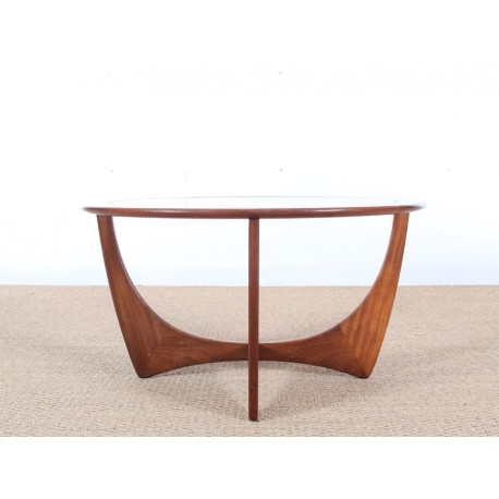 Table basse scandinave ronde en teck en et verre galerie for Table basse teck et verre