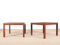 Mid-Century  modern pair of coffee table in teak by Rolf Middelboe & Gorm Lindum