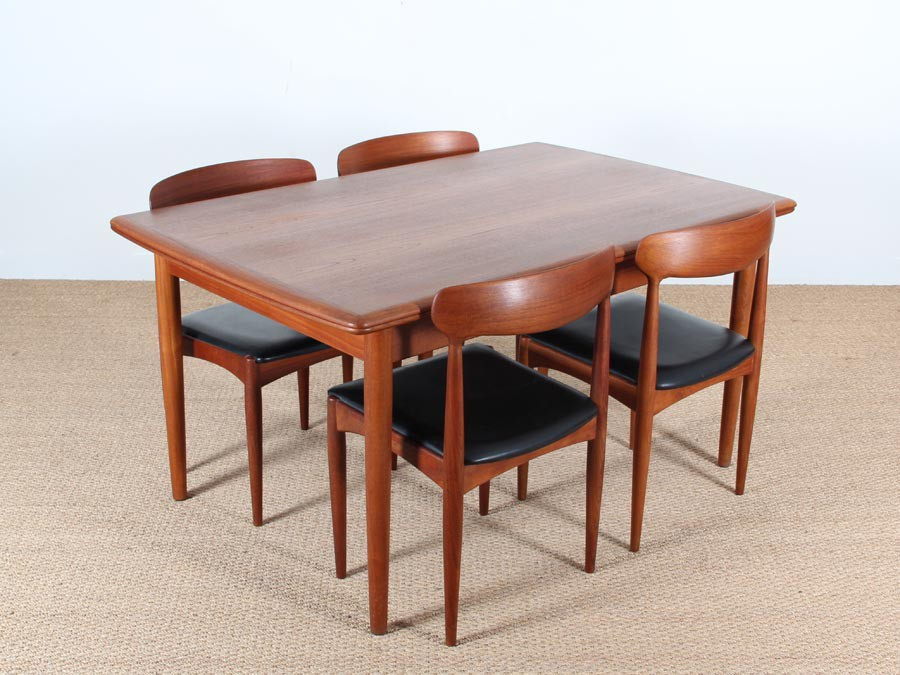 Mid century modern scandinavian dining table in teak seat for Dining table to seat 20