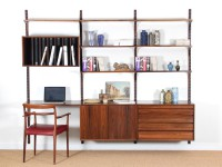 Mid-Century  modern Scandinavian wall system Cado in Rio rosewood