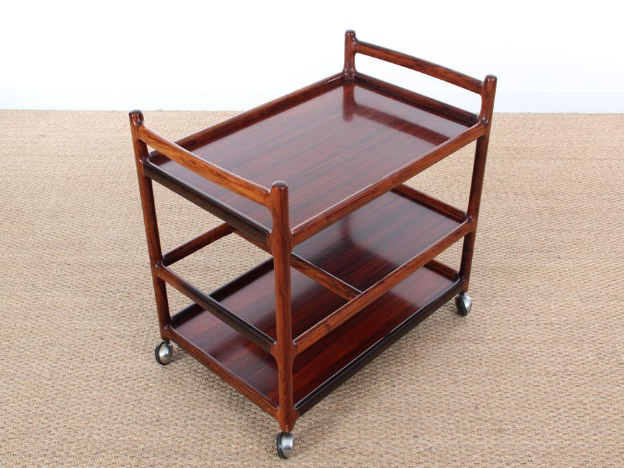 Mid century danish serving cart in rio rosewood by - Table pliante roulante ...