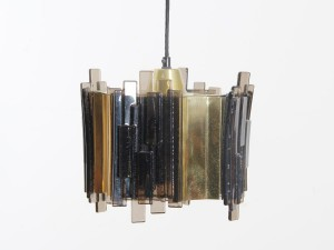 Suspension scandinave en pate de verre et laiton