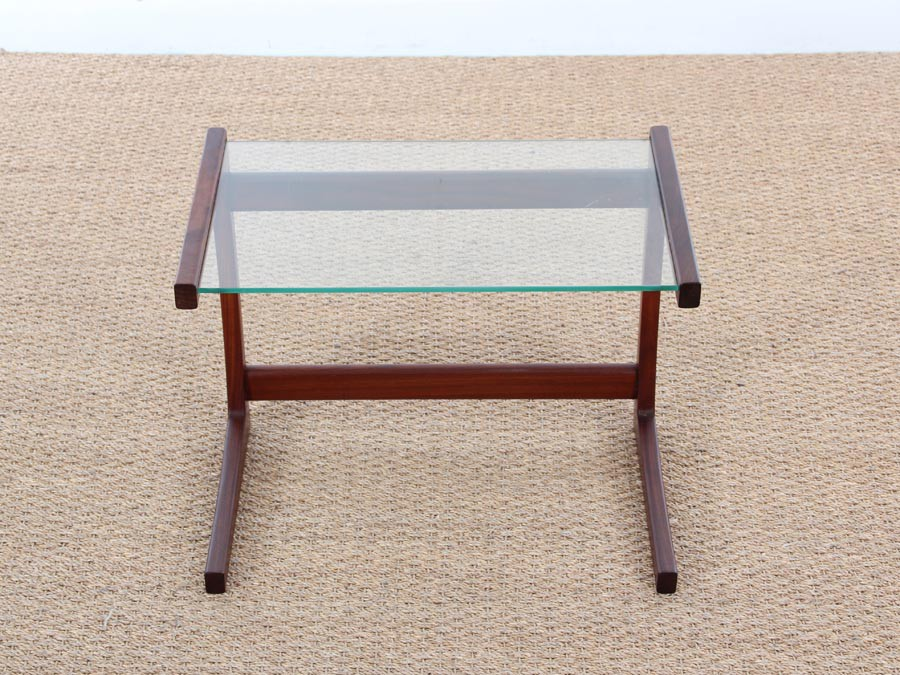 Mid Century Danish Small Side Table In Teak And Glass