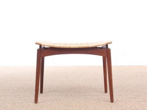 Scandinavian teak and cane stool