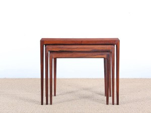 Mid-Century modern nesting tables in Rio rosewoodand tiles top  by Johannes Andersen