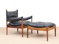 Mid-Century Modern Danish  lounge chair and ottoman in Rio rosewood model Modus by Kristian Vedel