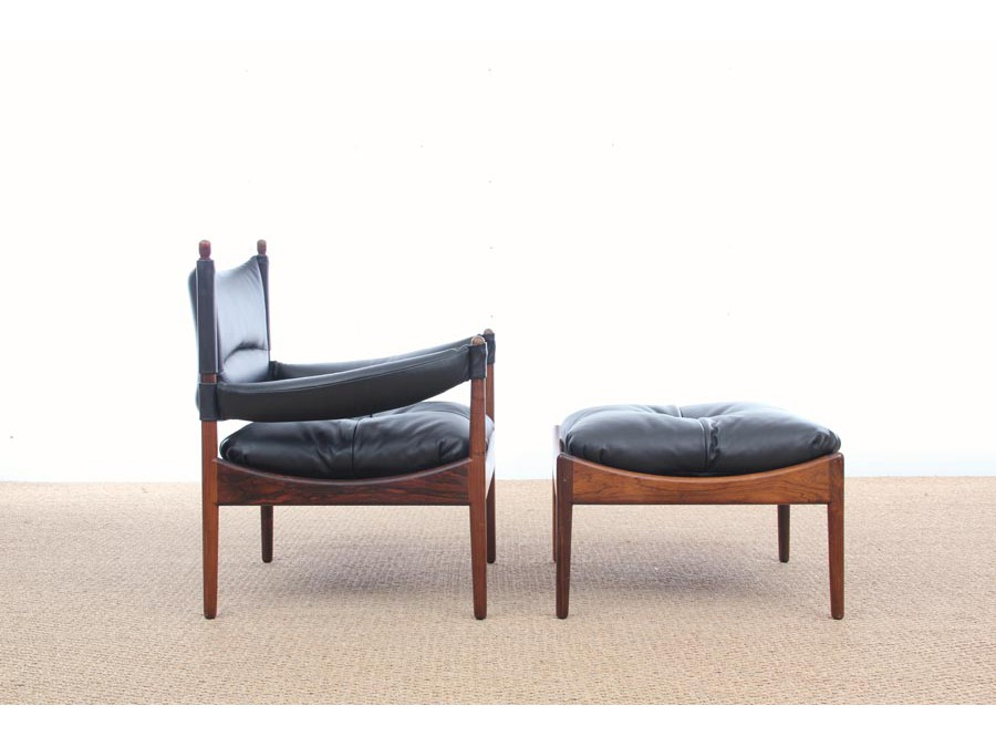 Mid-Century Modern Danish lounge chair and ottoman in Rio rosewood ...