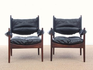 Mid-Century Modern Danish pair lounge chairs in Rio rosewood model Modus by Kristian Vedel