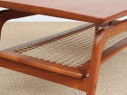 Mid-Century  modern  coffee table in in teak and cane