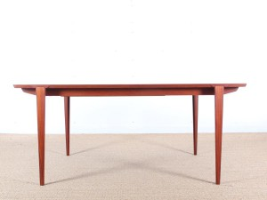 Mid-Century modern dining table in teak by Harry Rosengren Hansen 6/10 seats.