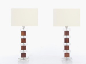 Mid century modern scandinavian pair of lamps in glass and Rio rosewood
