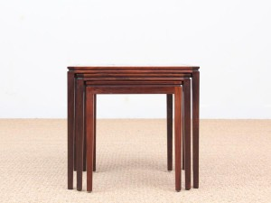 Mid-Century  modern scandinavian nesting tables in Rio rosewood and ceramic tales