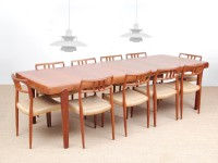 Mid-Century modern scandinavian dining table in teak 6/10 seats