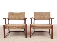 Mid-Century Modern pair of arm chairs  with woven sea grass.