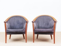 Mid-century Modern paire of lounge chairs in teak and alcantara by Bertil Fridhagen