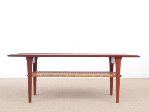 Mid-Century  modern scandinavian coffee table in teak and canne
