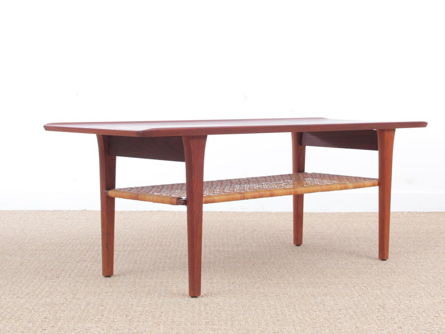 Mid century modern scandinavian coffee table in teak and canne galerie m bler - Table basse porte revue ...