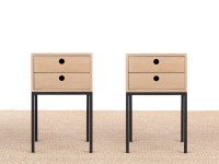 Pair of bed table in oak model Fredericia, 2 drawers.