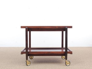 Mid-Century danish serving cart in Rio rosewood by Poul Hundevad