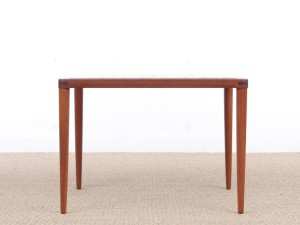 Mid century modern scandinavian teak coffee table with ceramic tiles by H.W. Klein