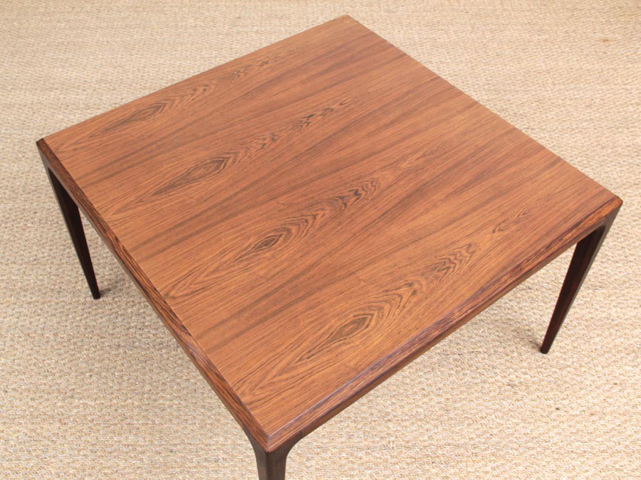 Mid Century Modern Danish Square Coffee Table In Rio Rosewood By Johannes Andersen