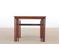 Mid-Century  modern scandinavian nesting tables in Rio rosewood