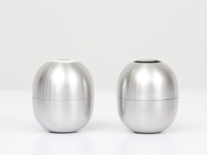 Set of 2 salt and pepper Super Egg grinders by Piet Hein. New edition.