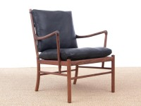 Mid-Century modern scandinavian Colonial arm chair in walnut by Ole Wanscher. New edition