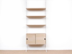 Mid-Century modern scandinavian shelves String System in oak, ash or black stained. New édition.