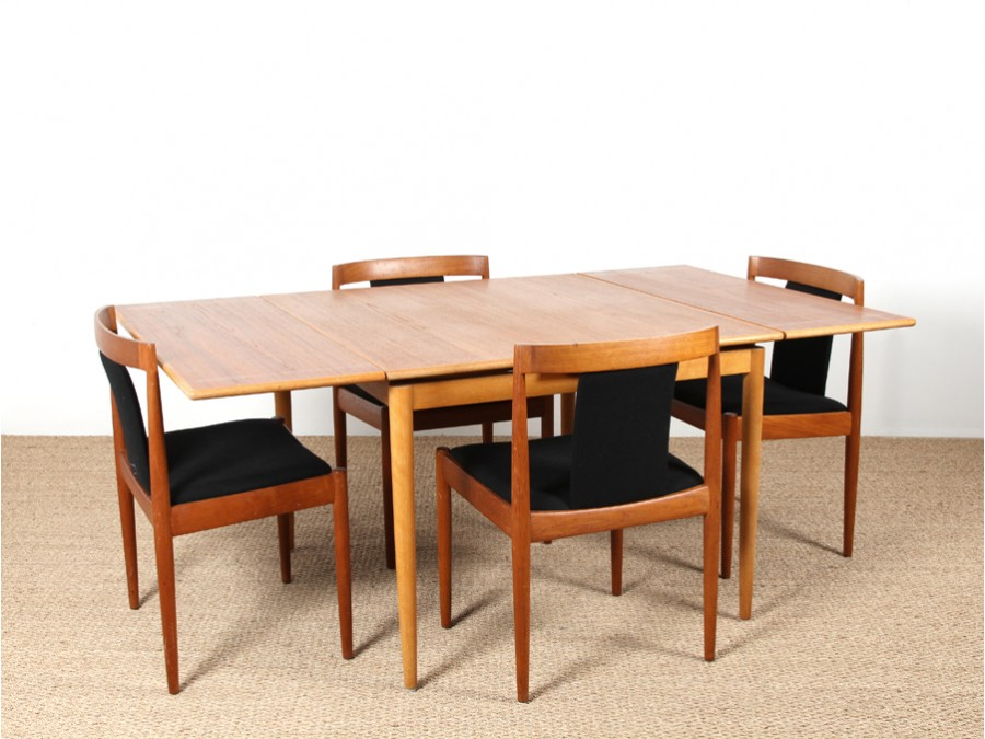 Scandinavian square dining table in teak and oak - Table manger scandinave ...