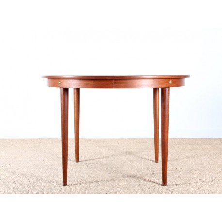 Scandinavian extendable round table in teak 4 10 seats - Table ronde teck ...