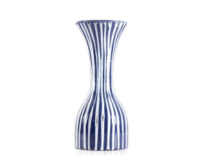 Scandinavian ceramic vase with textured stripes by Mari Simmulson for Upsala Ekeby.