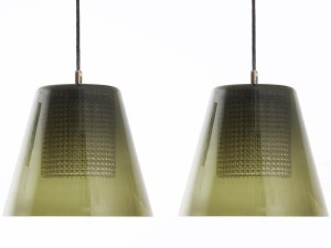 Pair of ceiling lamps in glass by Carl Fagerlund