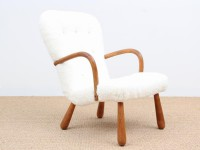 Danish modern Clam chair with hight back