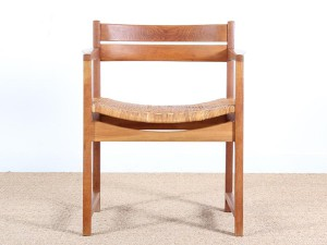 Danish mid-century modern arm chair un oak and cane