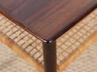 Danish mid-century modern side table in Rio rosewood and cane