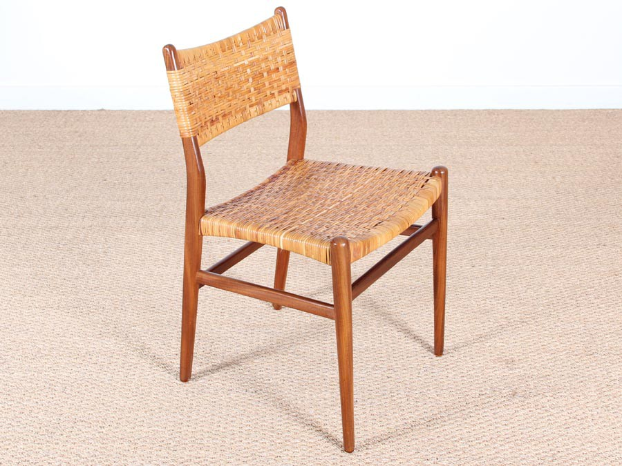 Phenomenal Danish Mid Century Set Of 4 Dining Chairs In Teak And Cane Andrewgaddart Wooden Chair Designs For Living Room Andrewgaddartcom
