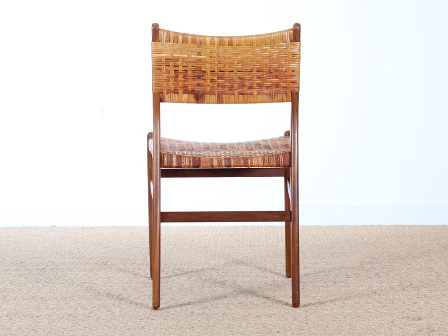 Danish Mid Century Set Of 4 Dining Chairs In Teak And Cane