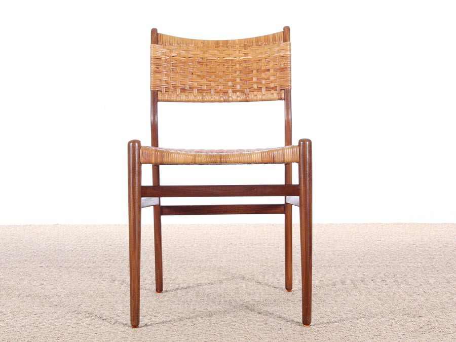 Danish Mid Century Set Of 4 Dining Chairs In Teak And Cane Aksel Bender Madsen Style Galerie
