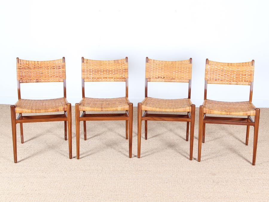 Amazing Danish Mid Century Set Of 4 Dining Chairs In Teak And Cane Andrewgaddart Wooden Chair Designs For Living Room Andrewgaddartcom