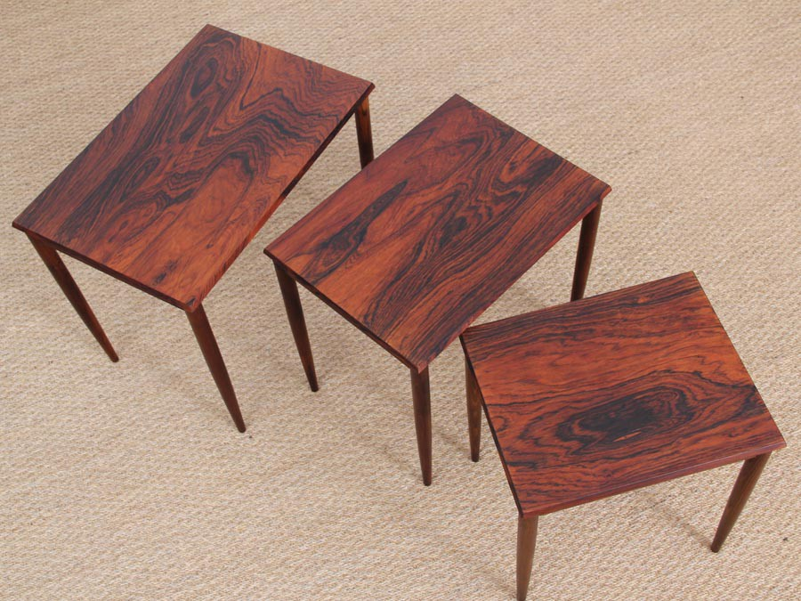Mid Century Modern Danish Nesting Tables In Rio Rosewood